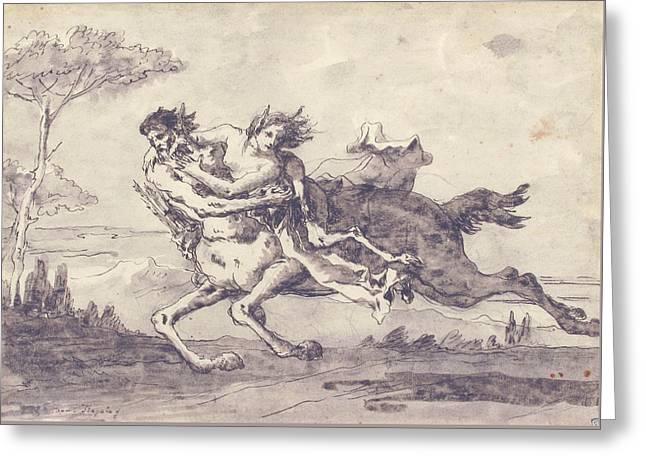 Centaur Abducting A Satyress Greeting Card