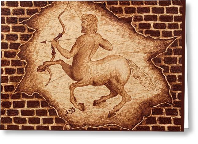Centaur Hunting Original Coffee Painting Greeting Card by Georgeta Blanaru