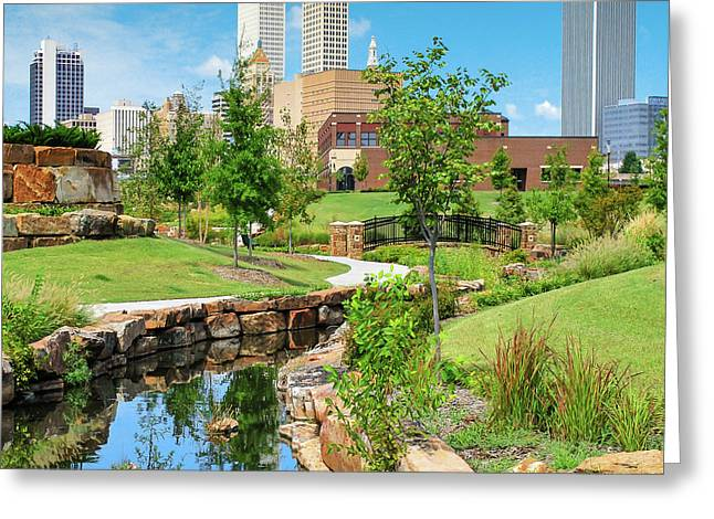 Centennial Park Tulsa Skyline View - Square Greeting Card by Gregory Ballos