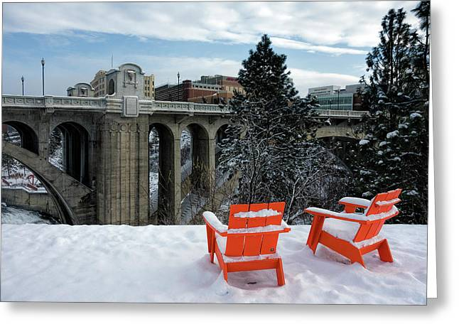 Centennial Trail Chairs - Spokane Greeting Card by Daniel Hagerman