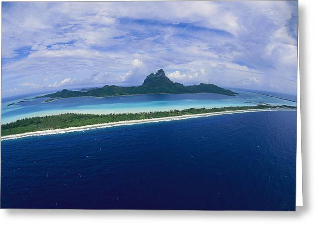 Tourists And Tourism Greeting Cards - Center Of Bora Bora And Outer Rim Greeting Card by Todd Gipstein