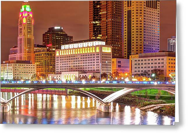 Center Panel 2 Of 3 - Columbus Ohio Skyline At Night Greeting Card