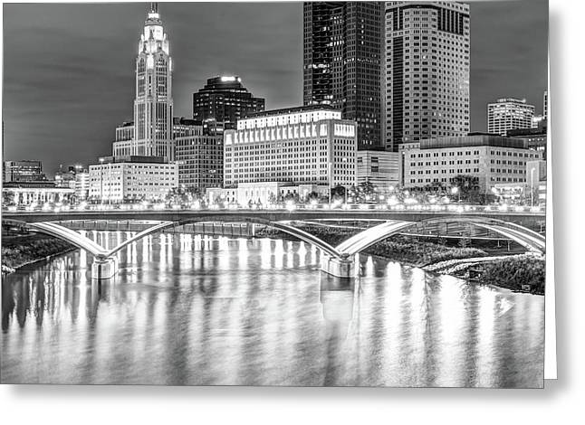 Center Panel 2 Of 3 - Columbus Ohio Skyline At Night In Black And White Greeting Card