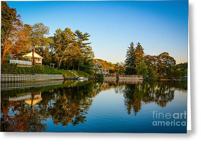 Centerport Harbor Autumn Colors Greeting Card