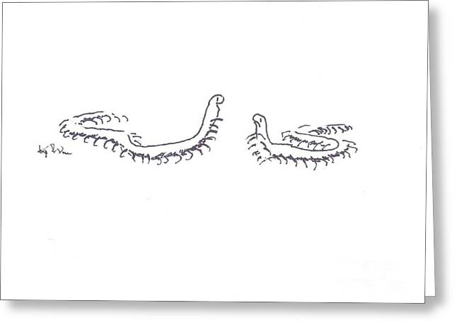 Centipedes In Discussion Cartoon Greeting Card by Kip DeVore