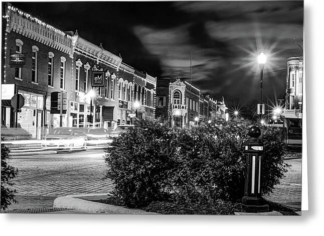 Central Avenue Lights - Bentonville Arkansas Skyline - Black And White Greeting Card by Gregory Ballos