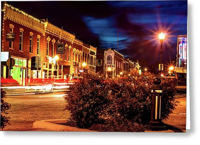Central Avenue Lights - Bentonville Arkansas Skyline Greeting Card by Gregory Ballos