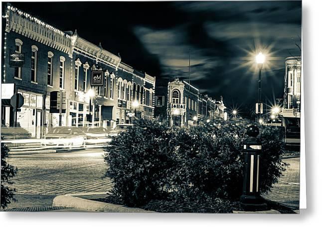 Central Avenue Lights - Bentonville Arkansas Skyline - Sepia Greeting Card by Gregory Ballos