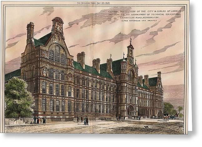 Central Institution Of The Cityy And Guilds Of London And Technical Education. London. 1881 Greeting Card by Alfred Waterhouse