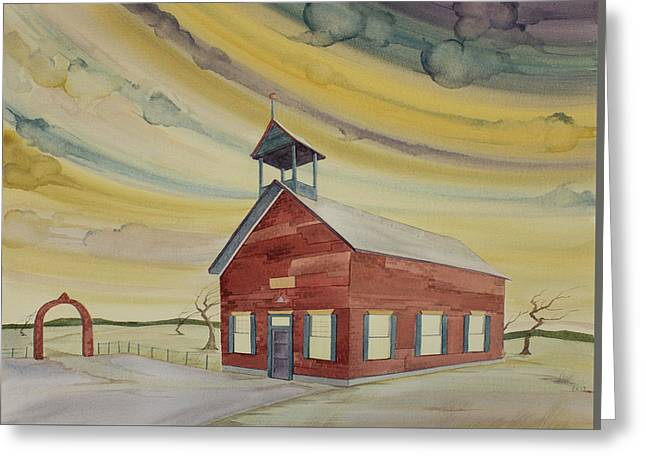 Greeting Card featuring the painting Central Ohio Schoolhouse by Scott Kirby