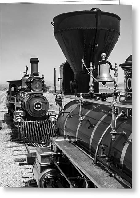 Central Pacific And Union Pacific Locomotives At Promontory, Uta Greeting Card