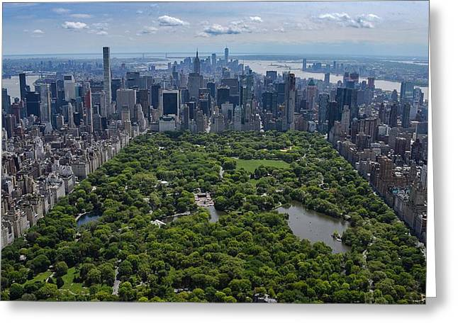 Greeting Card featuring the photograph Central Park Aerial by Rand