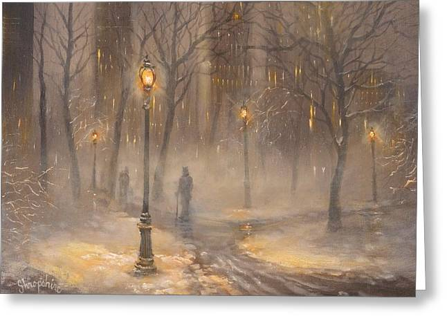 Central Park After Dark Greeting Card by Tom Shropshire