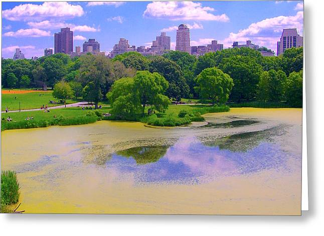 Central Park And Lake, Manhattan Ny Greeting Card