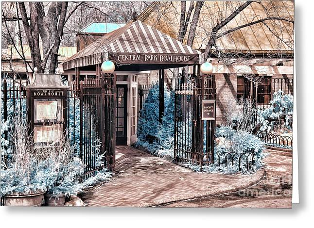 Central Park Boathouse In Infared Greeting Card by Paul Ward