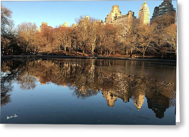 Central Park City Reflections Greeting Card by Madeline Ellis