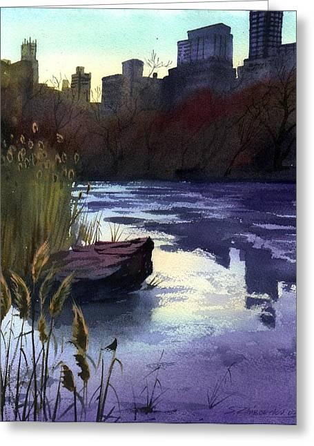 Central Park Lake Greeting Card by Sergey Zhiboedov