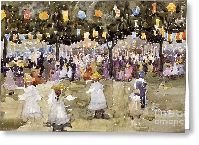 Central Park  New York City  July Fourth  Greeting Card by Maurice Prendergast