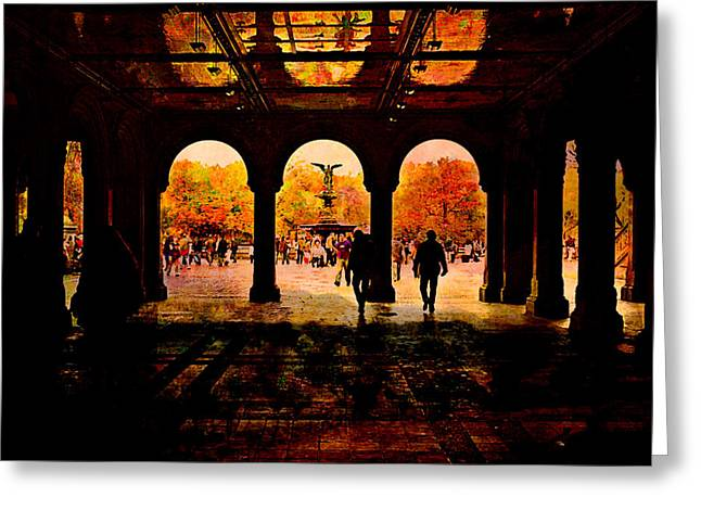 Central Park Nyc  Under The Bridge Greeting Card by Jeff Burgess