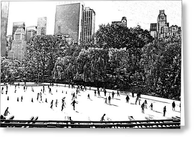 Central Park Skate Greeting Card by Barbara McDevitt