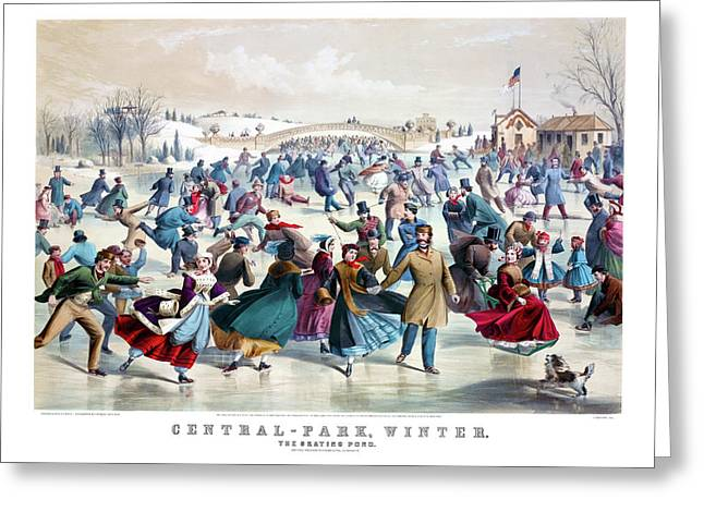 Central Park Winter The Skating Pond  New York Antique Currier And Ives 1862 Print Greeting Card