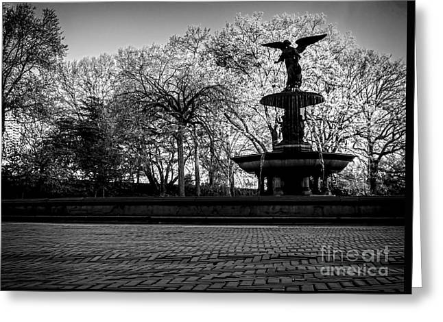 Central Park's Bethesda Fountain - Bw Greeting Card by James Aiken