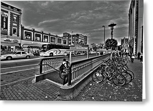 Central Square Cambridge Ma Black And White Greeting Card