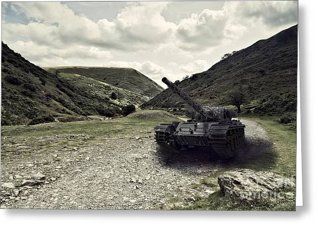 Centurion Tank In Valley Greeting Card by Amanda Elwell