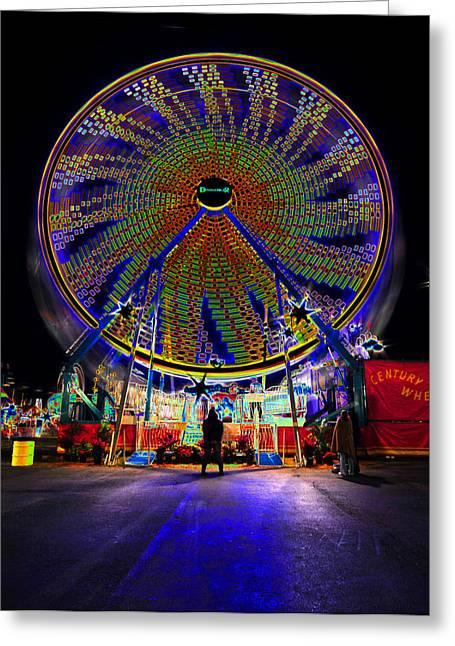 Ferris Wheel Night Photography Greeting Cards - Century Wheel Greeting Card by David Lee Thompson