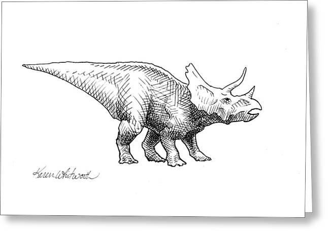 Greeting Card featuring the drawing Cera The Triceratops - Dinosaur Ink Drawing by Karen Whitworth