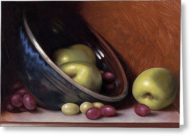 Ceramic Bowl With Apples Greeting Card