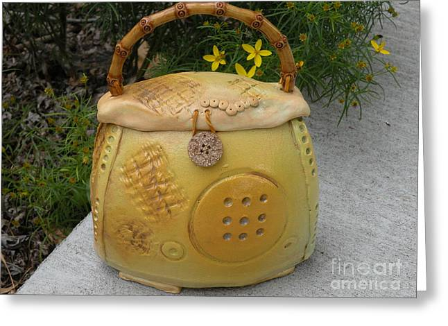 Ceramic Container With Lid Greeting Card by Christine Belt