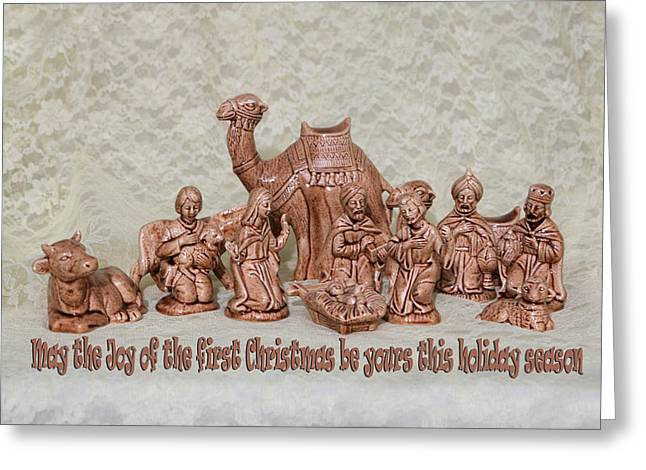 Ceramic Nativity Scene Greeting Card by Linda Phelps