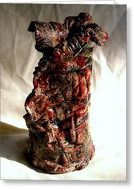 Ceramic Red Vase Greeting Card by Madalena Lobao-Tello