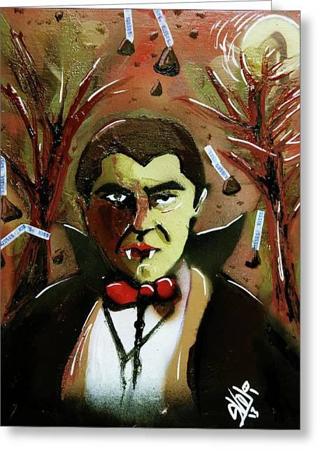 Greeting Card featuring the painting Cereal Killers - Count Chocula by eVol i