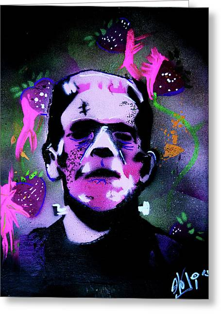 Greeting Card featuring the painting Cereal Killers - Frankenberry by eVol i