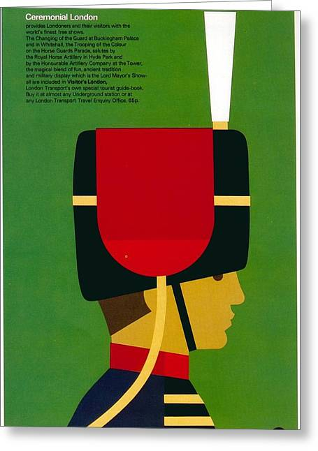 Ceremonial London - Royal Guard - The Queen's Guard - London Underground - Retro Travel Poster Greeting Card