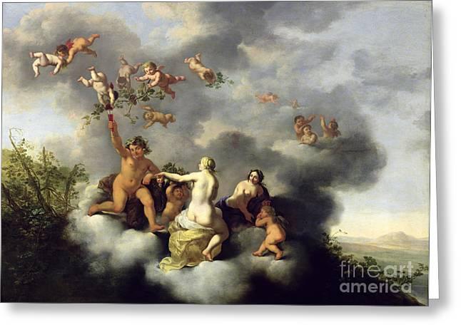 Ceres Bacchus Venus And Cupid  Greeting Card by Cornelis van Poelenburgh