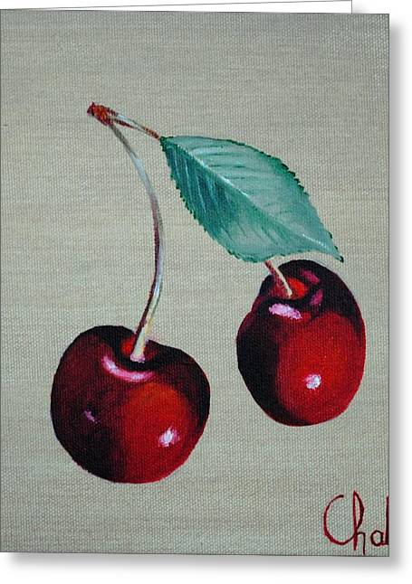 Cerises Greeting Card by Veronique Chabot