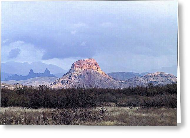 Greeting Card featuring the painting Cerro Castellan And Mule Ears  by Dennis Ciscel