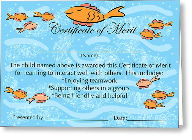 Certificate Of Merit For Cooperation Painting by Sally Huss – Merit Certificate Comments