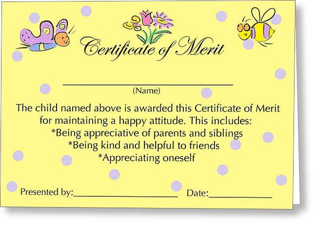 Certificate Of Merit For Good Attitude Painting by Sally Huss – Merit Certificate Comments