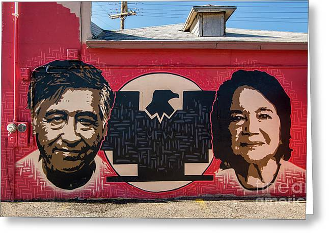 Cesar Chavez And Dolores Huerta Mural - Utah Greeting Card by Gary Whitton