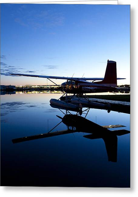 Cessna 180 And Its Reflection Greeting Card
