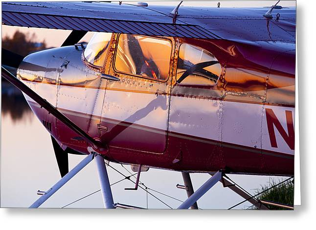 Cessna 180 At Sunset Greeting Card