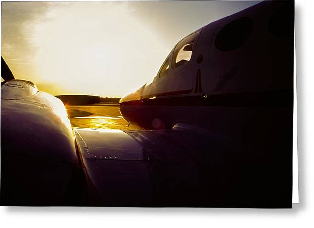 Cessna 421c Golden Eagle IIi Silhouette Greeting Card