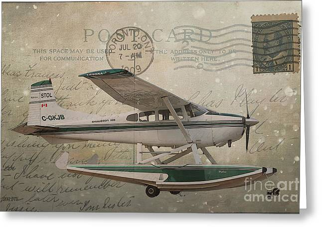 Cessna Skywagon 185 On Vintage Postcard Greeting Card