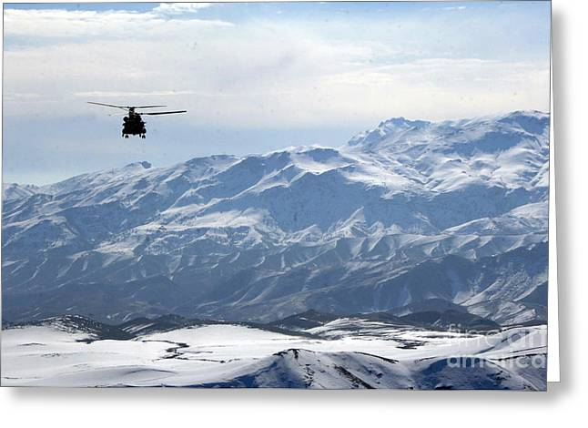Ch-47 Chinook Helicopter In Afghanistan Greeting Card by Celestial Images