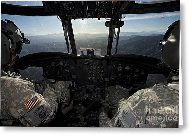 Ch-47 Chinook Pilots In Flight Greeting Card