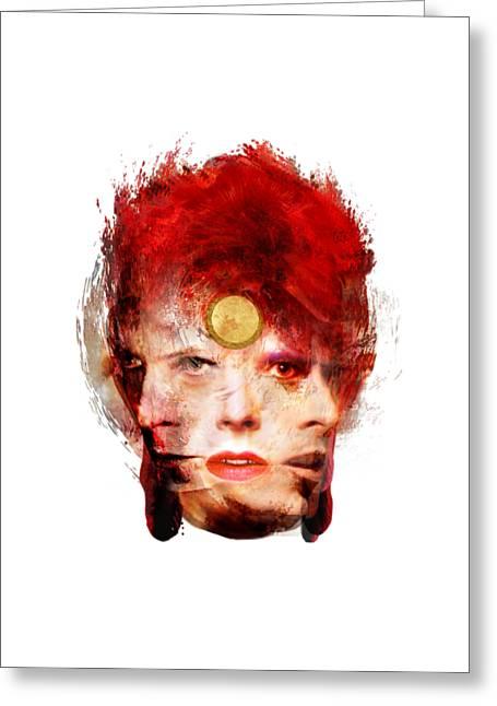 Ch Ch Changes David Bowie Portrait Greeting Card by Big Fat Arts